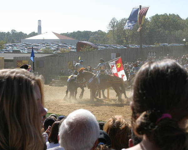 Maryland Poster featuring the photograph Maryland Renaissance Festival - Jousting And Sword Fighting - 1212203 by DC Photographer
