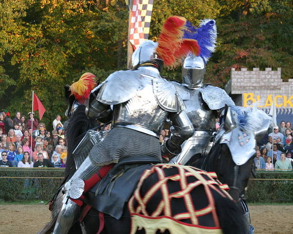 Maryland Poster featuring the photograph Maryland Renaissance Festival - Jousting And Sword Fighting - 121246 by DC Photographer