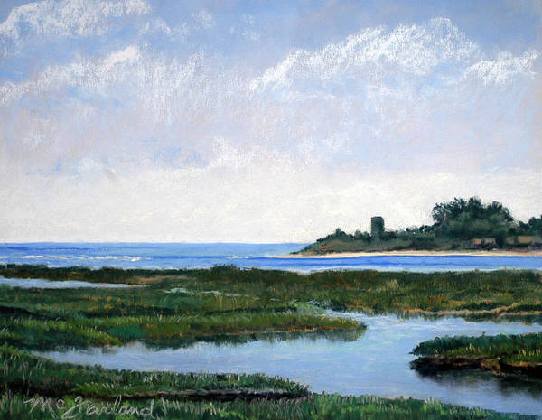 Marsh Poster featuring the pastel Massachussetts Marsh Morning by Lorraine McFarland