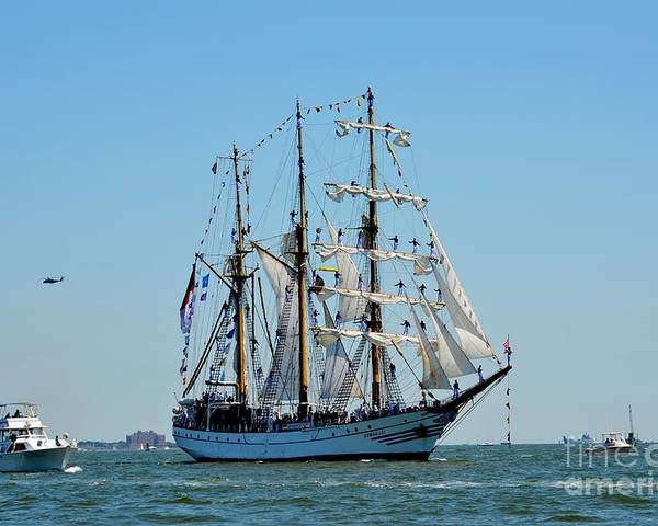 Tall Ship Poster featuring the photograph Mast Presentation by Brenda Dorman