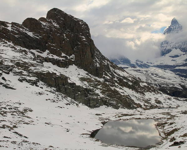 Matterhorn Poster featuring the photograph Matterhorn Shrouded In Clouds by Jetson Nguyen