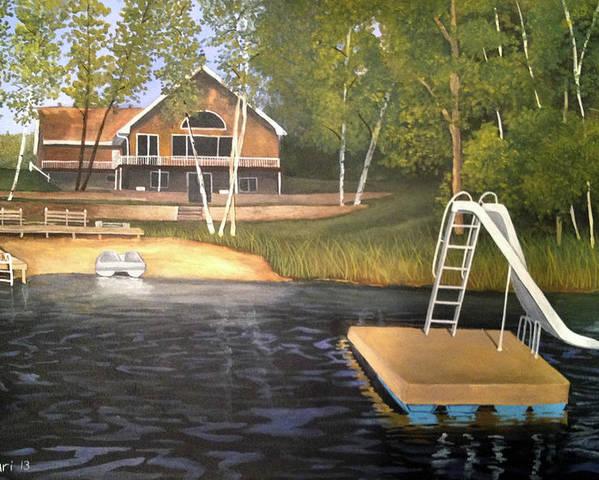 Rick Huotari Poster featuring the painting Matt's Cabin by Rick Huotari