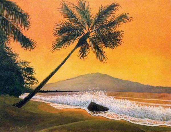 Rick Huotari Poster featuring the painting Maui Sunset by Rick Huotari