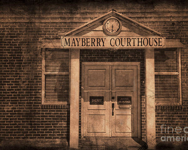 Andy Griffith Poster featuring the photograph Mayberry Courthouse by David Arment