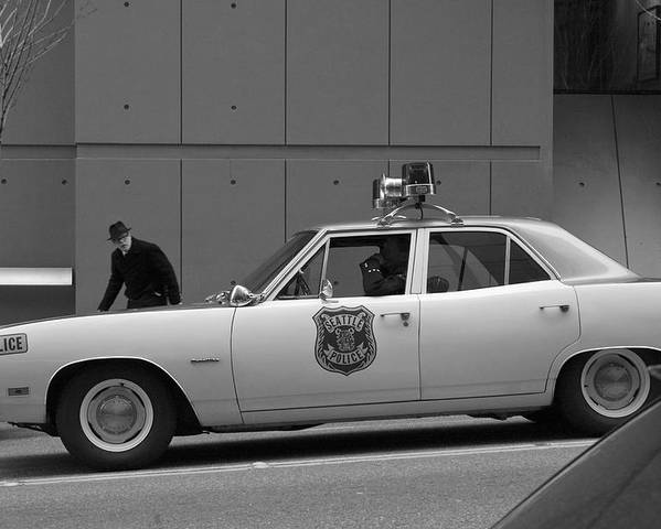 Vintage Car Poster featuring the photograph Mayberry Meets Seattle - Vintage Police Cruiser by Jane Eleanor Nicholas