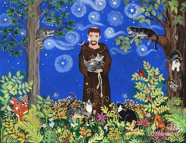 Sue Betanzos Poster featuring the painting May's St. Francis by Sue Betanzos