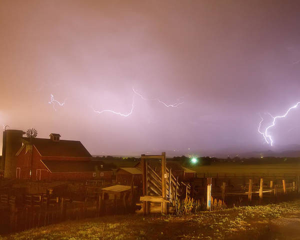 Lightning Poster featuring the photograph Mcintosh Farm Lightning Thunderstorm View by James BO Insogna