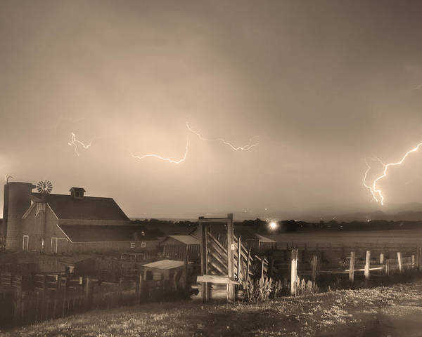 Lightning Poster featuring the photograph Mcintosh Farm Lightning Thunderstorm View Sepia by James BO Insogna