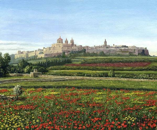 Landscape Poster featuring the painting Mdina Poppies Malta by Richard Harpum