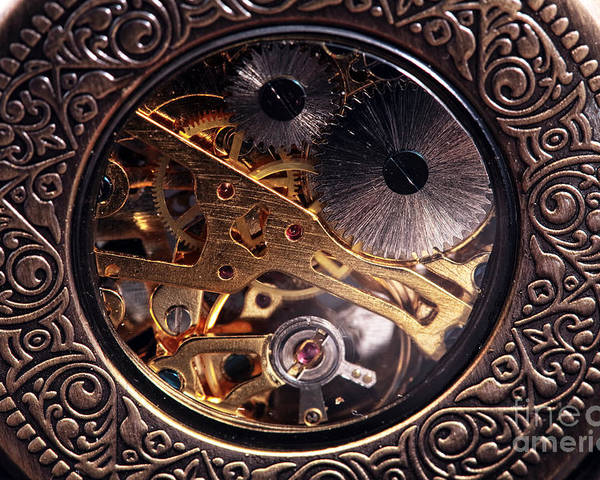 Pocket Watch Poster featuring the photograph Mechanical by John Rizzuto