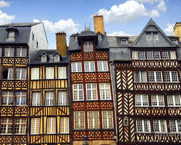 Tudor Poster featuring the photograph Medieval Houses In Rennes by Elena Elisseeva