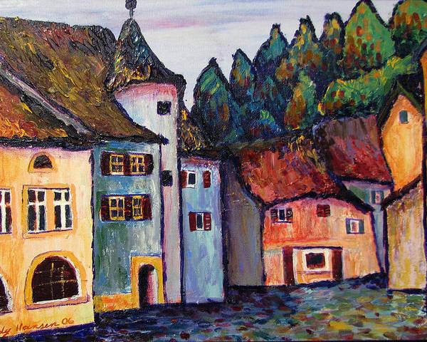 Medieval Poster featuring the painting Medieval Village Of St. Ursanne Switzerland by Art Nomad Sandra Hansen