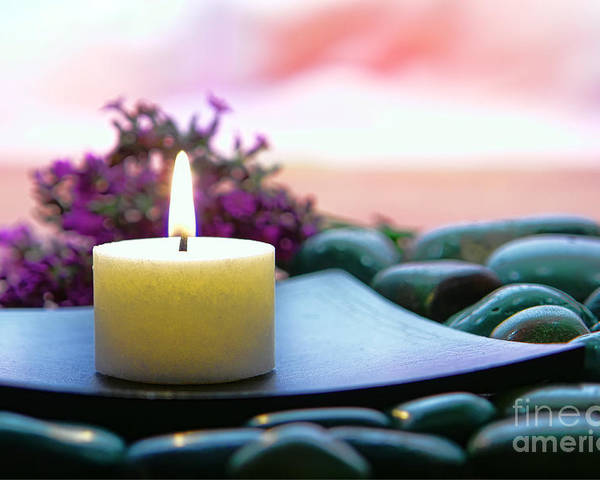 Candle Poster featuring the photograph Meditation Candle by Olivier Le Queinec