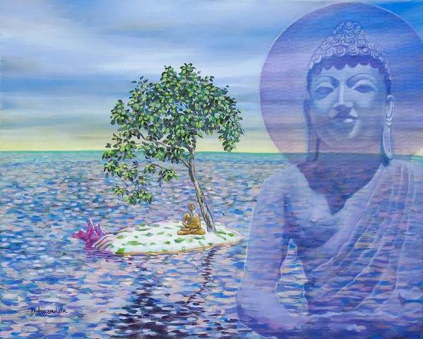Buddha Poster featuring the painting Meditation On Buddha Blue by Dominique Amendola
