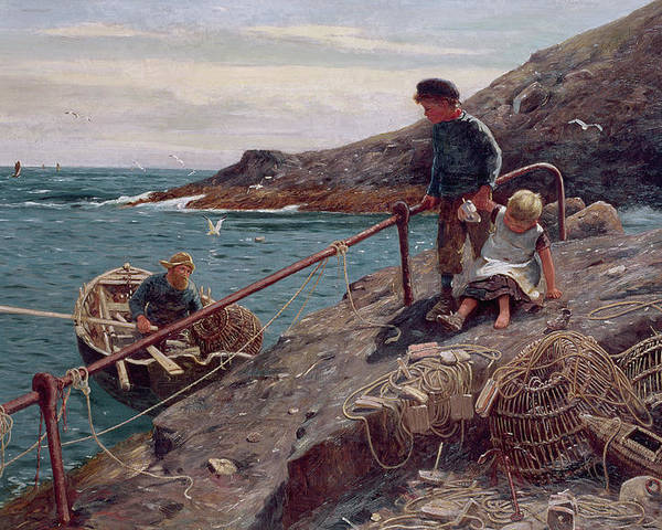 Sea Poster featuring the painting Meeting Father by Thomas James Lloyd