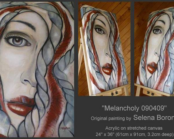 Woman Poster featuring the painting Melancholy 090409 by Selena Boron