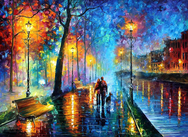 Leonid Afremov Poster featuring the painting Melody Of The Night - Palette Knife Landscape Oil Painting On Canvas By Leonid Afremov by Leonid Afremov