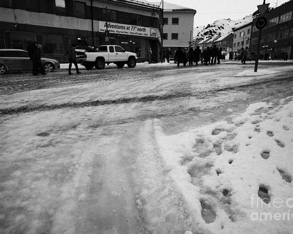 Melting Poster featuring the photograph melting ice and snow on street surface holmen Honningsvag finnmark norway europe by Joe Fox
