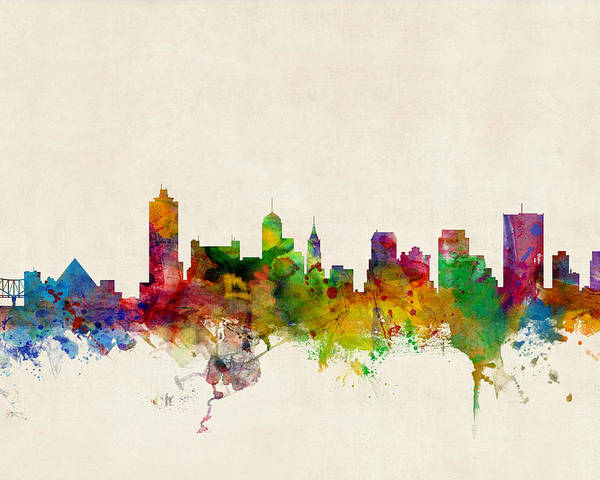 Watercolour Poster featuring the digital art Memphis Tennessee Skyline by Michael Tompsett