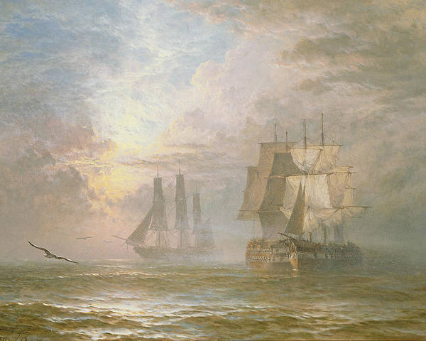 Seagulls Poster featuring the painting Men Of War At Anchor by Henry Thomas Dawson