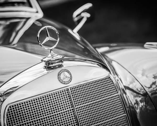 Mercedes benz hood ornament emblem 1006bw poster by for Mercedes benz ornaments