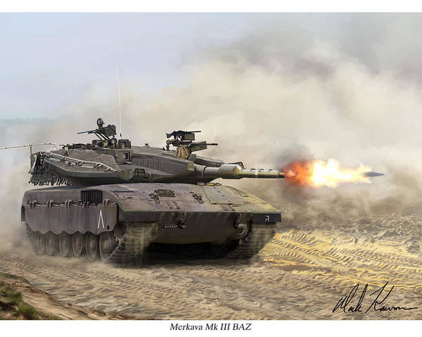 Military Poster featuring the painting Merkava Mk IIi Baz by Mark Karvon