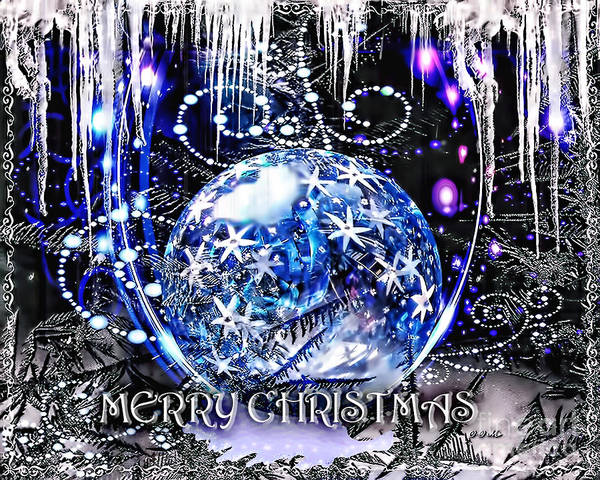 Merry Christmas Poster featuring the digital art Merry Christmas by Mo T