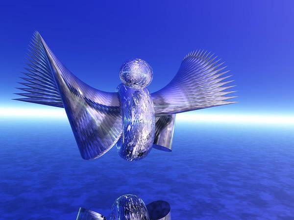 Bird Poster featuring the digital art Metal Duck I by Bernie Sirelson