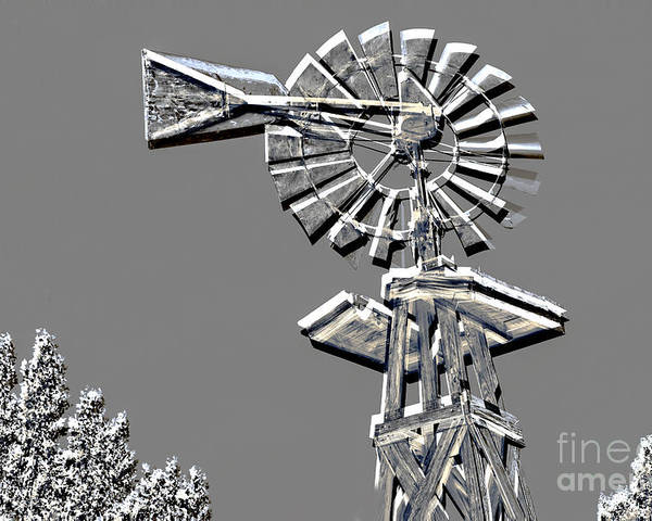 Windmill Poster featuring the mixed media Metal Print Of Old Windmill In Gray Color 3009.03 by M K Miller
