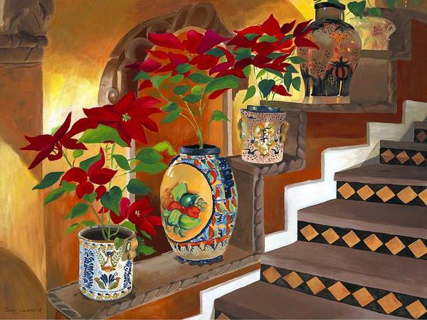 Mexican Pottery Poster featuring the painting Mexican Pottery On Staircase by Judy Swerlick