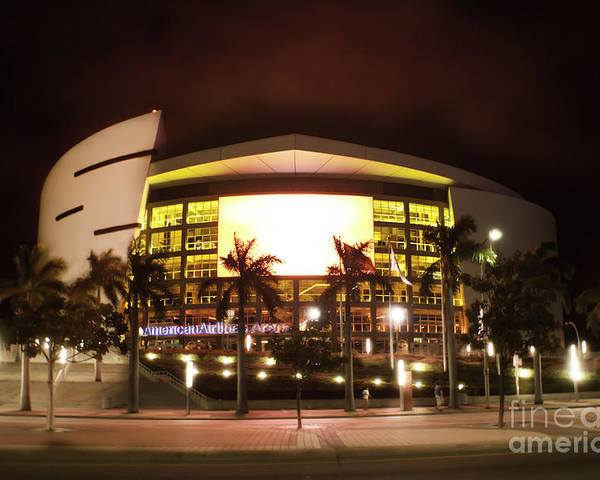 Miami Heat Poster featuring the photograph Miami Heat Aa Arena by Andres LaBrada