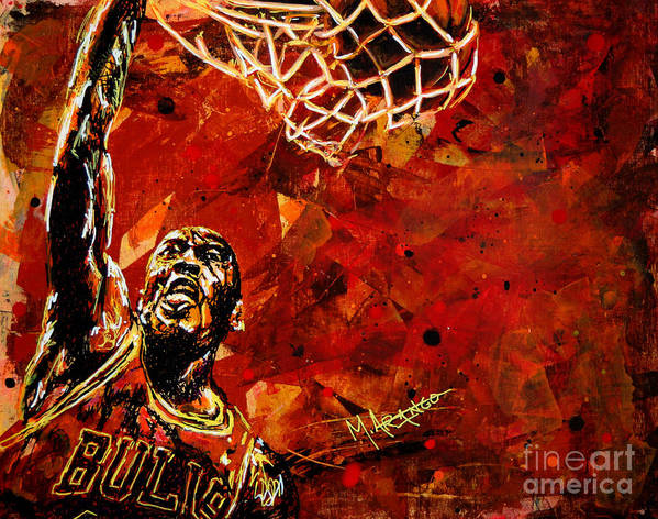 Michael Jordan Poster featuring the painting Michael Jordan by Maria Arango