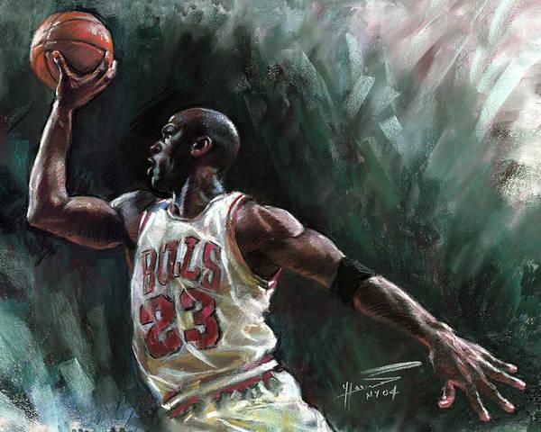 Michael Jordan Poster featuring the pastel Michael Jordan by Ylli Haruni