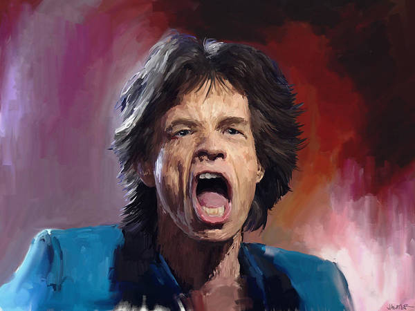 Rolling Stones Poster featuring the painting Mick Jagger Painting by Robert Wheater