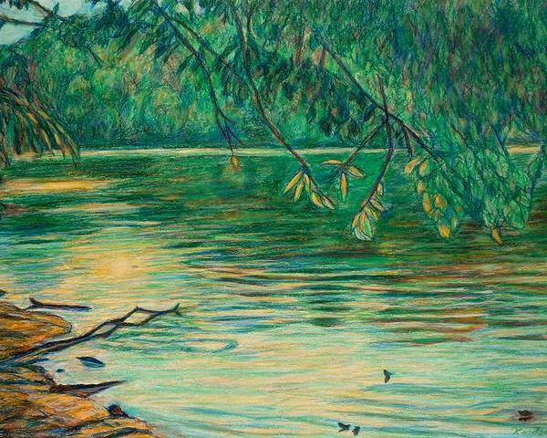 Landscape Poster featuring the painting Mid-spring On The New River by Kendall Kessler