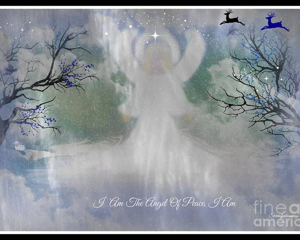 Angel Poster featuring the digital art Midnight Angel Of Peace by Sherri's Of Palm Springs