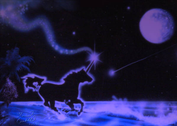 Unicorn Poster featuring the mixed media Midnight Run by Kevin Caudill