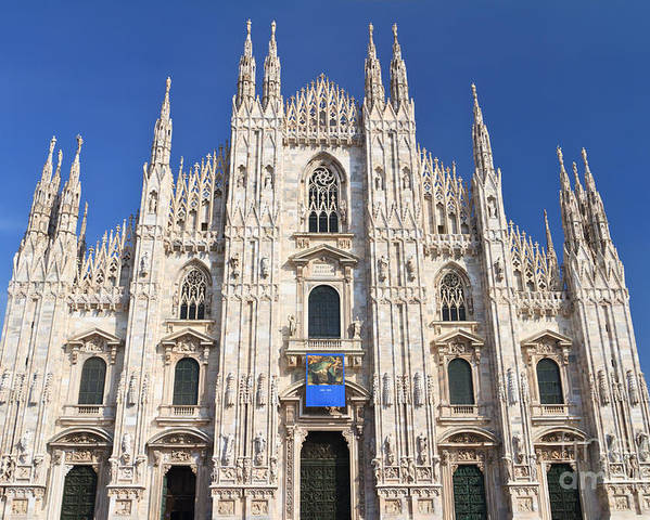 Ancient Poster featuring the photograph Milan Cathedral by Antonio Scarpi
