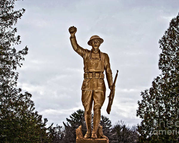 Hdr Poster featuring the photograph Military Soldier Memorial by Ms Judi