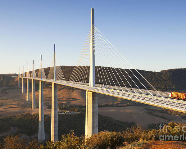 Bridge Poster featuring the photograph Millau Viaduct At Sunrise Midi Pyrenees France by Colin and Linda McKie