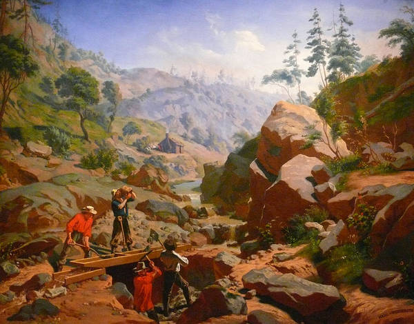 Charles Nahl Poster featuring the digital art Miners In The Sierras by Charles Nahl