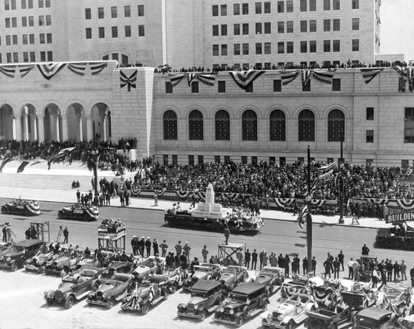 1920's Poster featuring the photograph Miniature La City Hall Parade by Underwood & Underwood