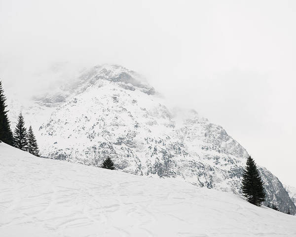 Minimalism Poster featuring the photograph Minimalist Snow Landscape - Mountain And Trees In Winter by Matthias Hauser
