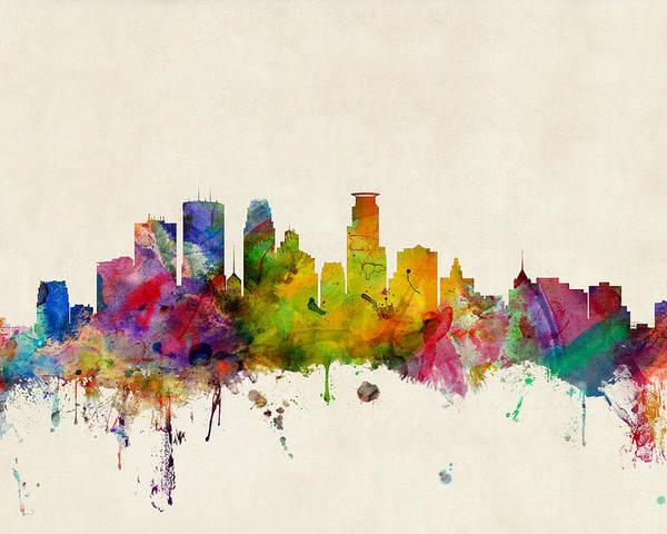 Watercolour Poster featuring the digital art Minneapolis Minnesota Skyline by Michael Tompsett