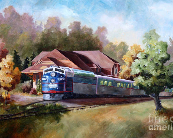 Train Fall train Painting Station Building Structure Minnesota train Station Oil Painting Original Poster featuring the painting Minnesota Zephyr by Brenda Thour