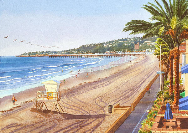 Mission Beach Poster featuring the painting Mission Beach San Diego by Mary Helmreich