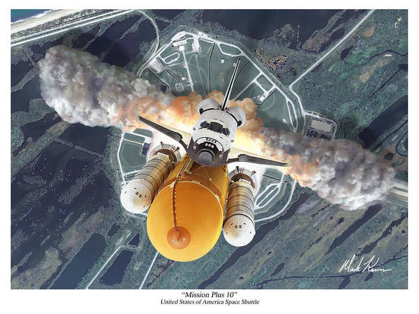 Space Shuttle Poster featuring the painting Mission Plus 10 by Mark Karvon