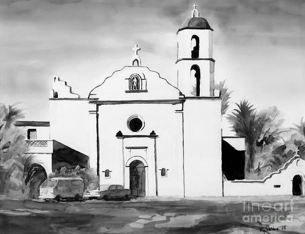 Mission Poster featuring the painting Mission San Luis Rey Bw Blue by Kip DeVore