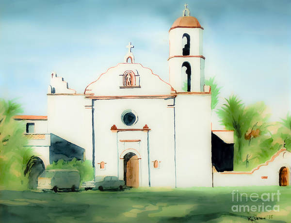 Mission Poster featuring the painting Mission San Luis Rey Dreamy by Kip DeVore