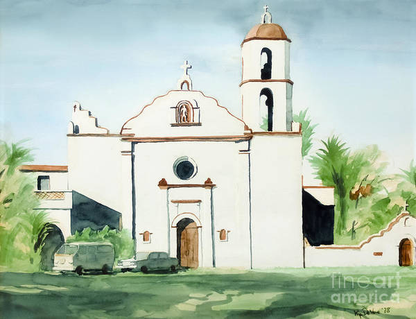 Mission San Luis Rey Poster featuring the painting Mission San Luis Rey by Kip DeVore